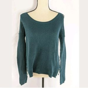 Hollister Womens Knit Cold Shoulder Sweater S teal
